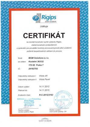 Certifikát - montáž konstrukcí suché výstavby Rigips